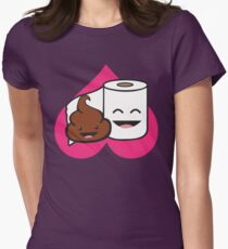 Poop And Toilet Paper Roll - Love Heart Women's Fitted T-Shirt