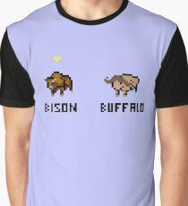 Bison vs Buffalo Pixel Art Graphic T-Shirt