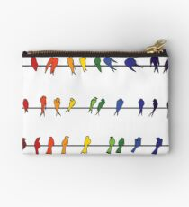 Rainbow Colored Birds on a Wire Studio Pouch