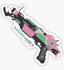 Raygun Marke 2 Farbe Hintergrund Glänzender Sticker