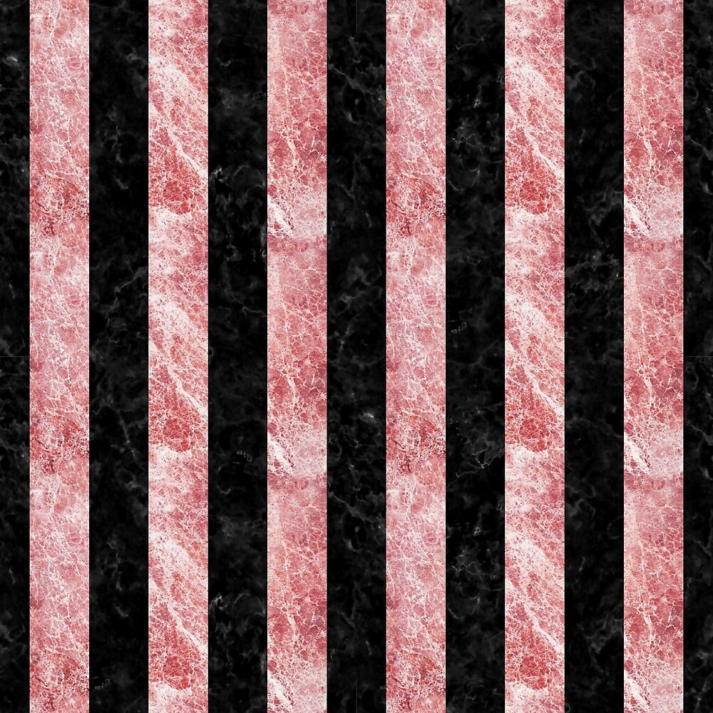 STRIPES1 BLACK MARBLE AND RED AND WHITE MARBLE by johnhunternance