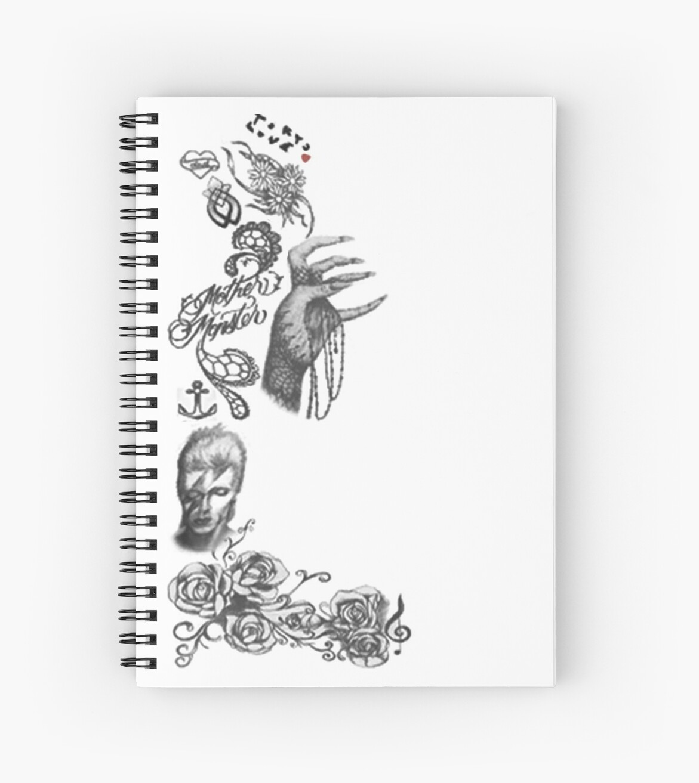 "Lady Gaga Tatuajes lady gaga tattoos"" spiral notebooksniclastname | redbubble"