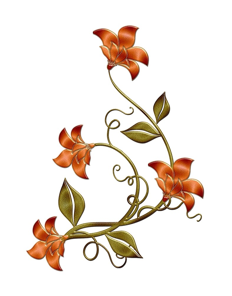 Peach Background Orange Lilies Floral Pattern by HavenDesign