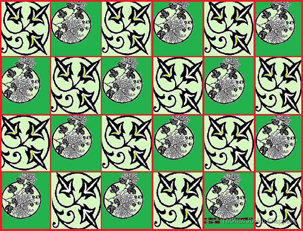 floral stencilling in checkerboard-green by Thomas Josiah Chappelle
