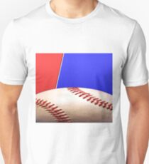 Baseball Sports on Blue and Red Unisex T-Shirt