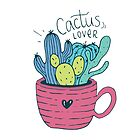 Cactus Lover Pink - Home sweet home by Miruna Illustration