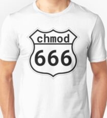 chmod 666 - Linux/Unix Sysadmin Black Parody Design Unisex T-Shirt