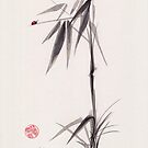 Miss Ladybug - Sumie Ladybug Ink Wash Zen Painting by Rebecca Rees