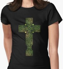 Lucky Celtic Cross. Womens Fitted T-Shirt