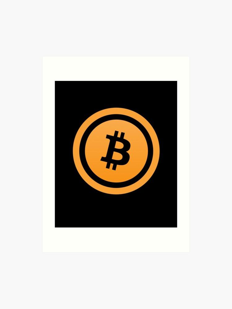 Bitcoin Logo - Bitcoin B on Flat Coin Icon | Art Print