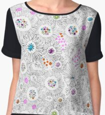 Flowers of Asters and Chrysanthemums Chiffon Top