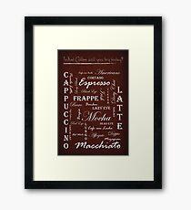 Vintage Coffee Typography Framed Print