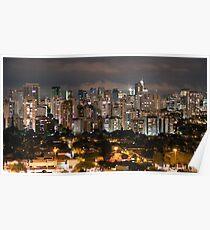 Sao Paulo Night Skyline Poster
