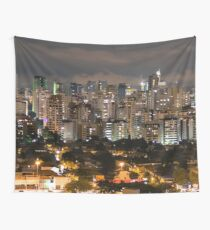 Sao Paulo Night Skyline Wall Tapestry