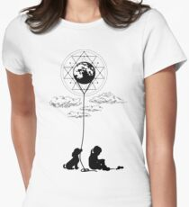 Sad girl and the moon. Womens Fitted T-Shirt