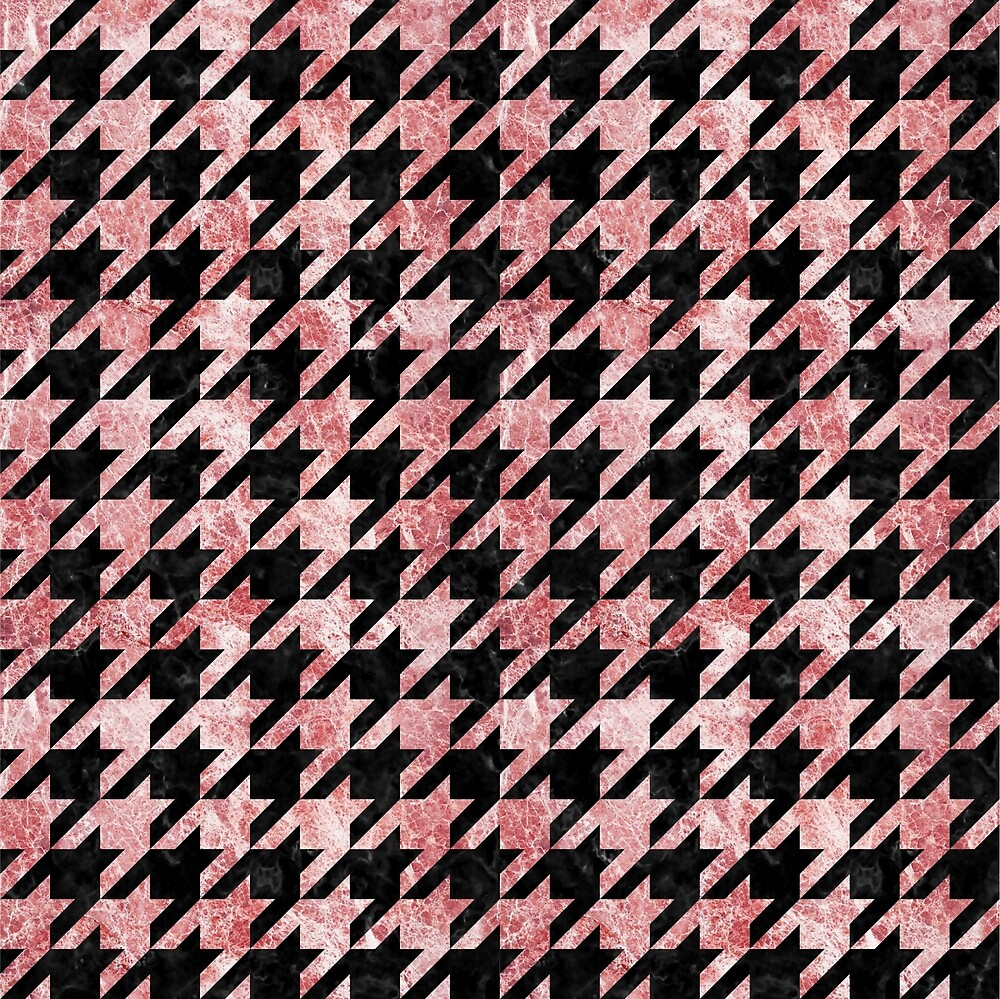HOUNDSTOOTH1 BLACK MARBLE AND RED AND WHITE MARBLE by johnhunternance