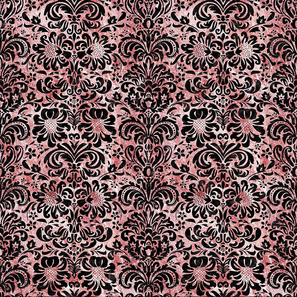 DAMASK2 BLACK MARBLE AND RED AND WHITE MARBLE (R) by johnhunternance