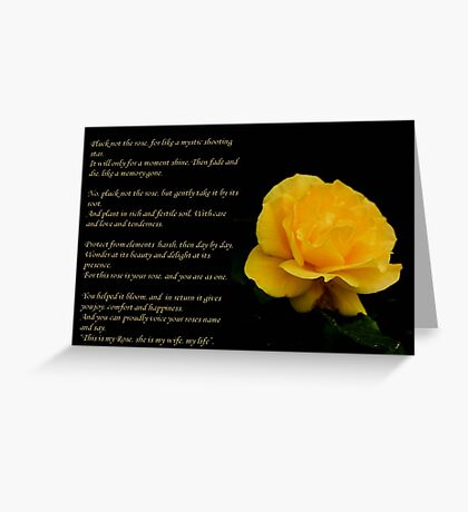 Yellow Rose With Verse - Pluck Not the Rose  Greeting Card