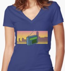 Tune In! Women's Fitted V-Neck T-Shirt