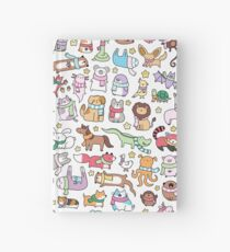 Winter Animals with Scarves Doodle Hardcover Journal