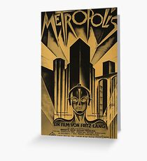Metropolis, Fritz Lang, 1926 - vintage movie poster, b&w Greeting Card