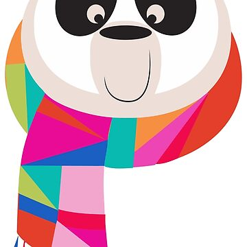 Panda With Hippie Scarf by Betsyjankovic