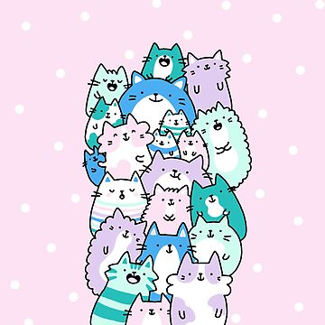 Pastel Pile Of Cats by KiraKiraDoodles