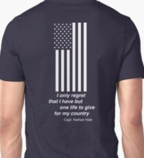 White American Flag, I only regret that I have but one life to give for my country Nathan Hale Unisex T-Shirt