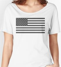 American Flag, Cut Out, Gray Women's Relaxed Fit T-Shirt