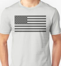 American Flag, Cut Out, Gray Unisex T-Shirt