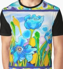 Blue Poppies 1 with Border Graphic T-Shirt