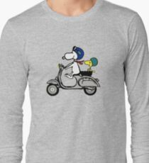 Snoopy and Woodstock on a Vespa Long Sleeve T-Shirt