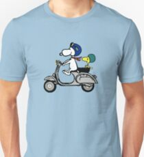 Snoopy and Woodstock on a Vespa Unisex T-Shirt