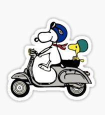 Snoopy and Woodstock on a Vespa Sticker