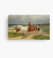 Fleeing Horses - Arvid Fredrik Lonnroth Canvas Print