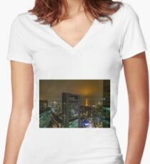 Nightfall in Tokyo Women's Fitted V-Neck T-Shirt