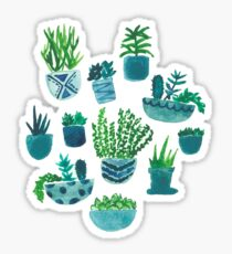 blue and green watercolor cacti Sticker