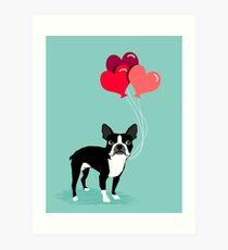 Valentinsgruß-Liebe-Ballongeschenke Bostons Terrier für die Hundeliebhaber-Haustierinhaber-Hunderassen kundengerecht Kunstdruck