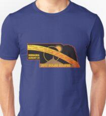 2017 Solar Eclipse Across Nebraska Cities Map Illustration T-Shirt