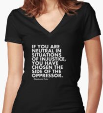 Human Rights Quote Protest Political  Women's Fitted V-Neck T-Shirt