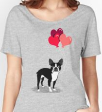 Boston Terrier Valentines Love Balloons gifts for dog lovers pet owners dog breeds customizable Women's Relaxed Fit T-Shirt