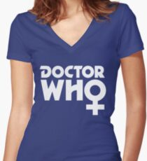 The Doctor is a Woman Women's Fitted V-Neck T-Shirt