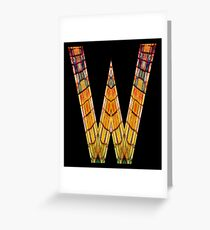 """ALPHABET - Stained Glass Letter """"W"""" Greeting Card"""