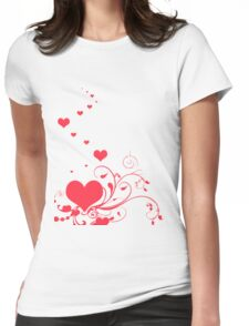 Red Valentine Hearts on A White Background T-Shirt