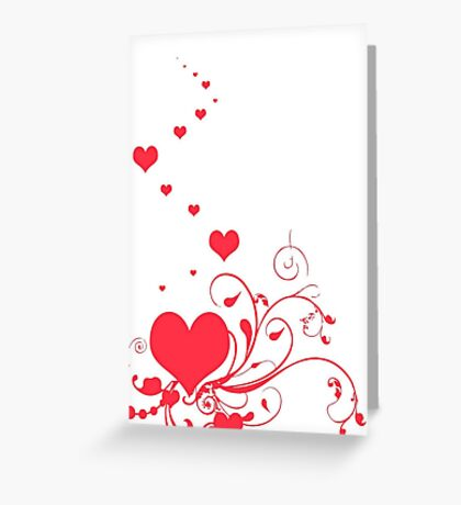 Red Valentine Hearts on A White Background Greeting Card