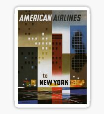 Vintage Travel Poster – New York by American Airlines Sticker