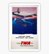 Vintage Travel Poster – Trans-World Airlines to New York Sticker