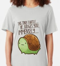 This turtle.. he judges you. Slim Fit T-Shirt