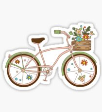 Retro bicycle with karzinkoy for flowers Sticker