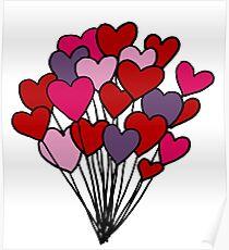 Heart Balloon Bunch Poster